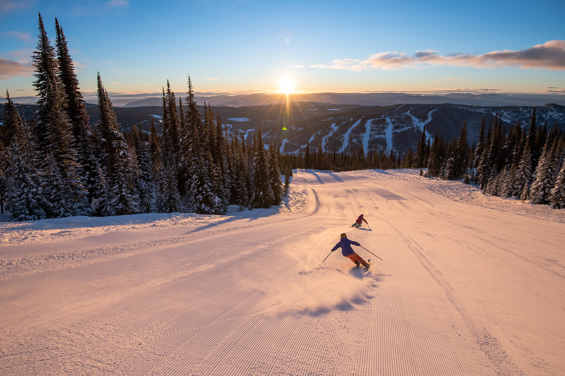 Skiing on Fresh Groomers at Sun Peaks Resort