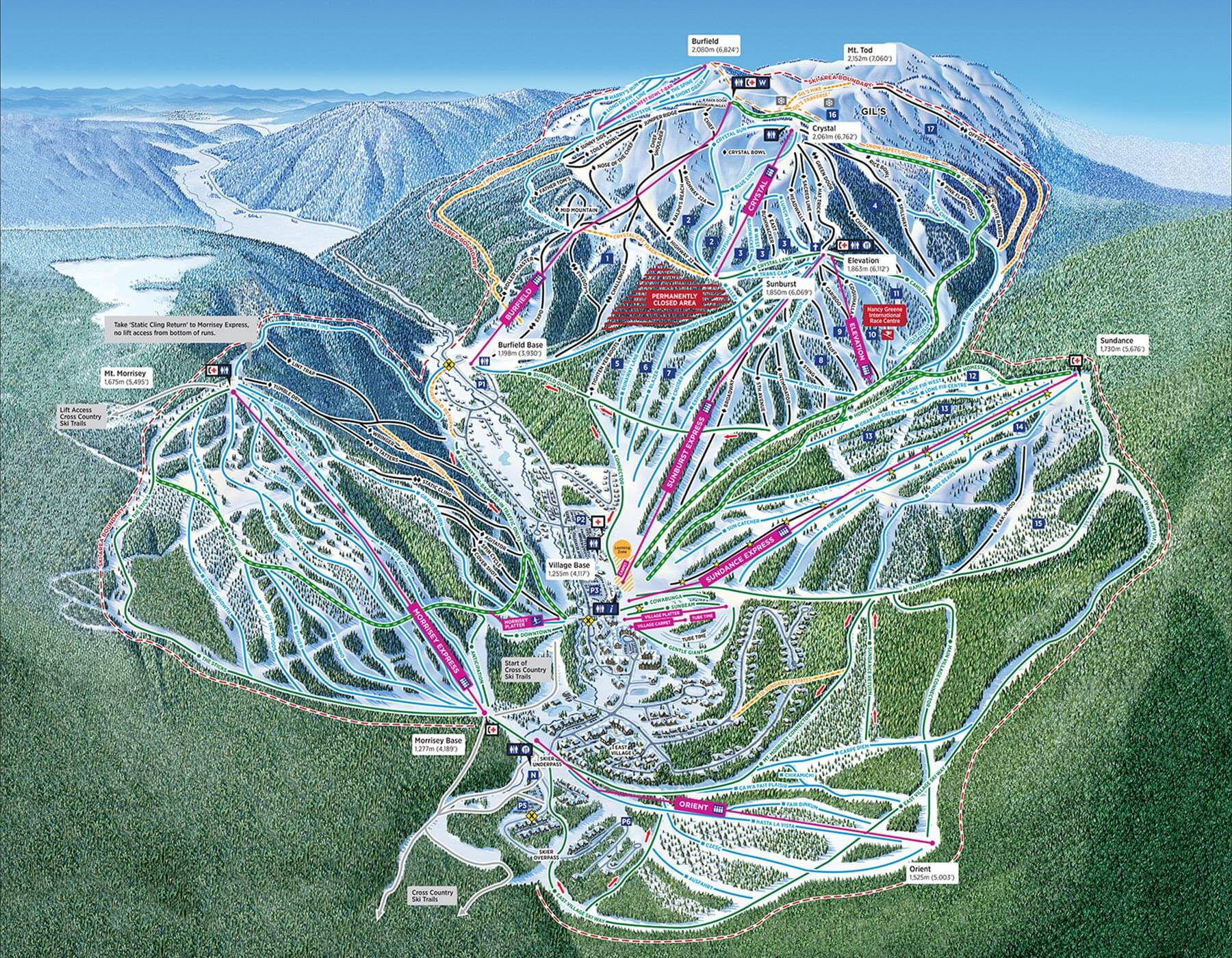 Sun Peaks Resort Trail Map from the 2018/19 Season