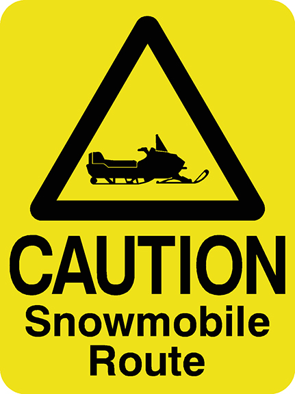 Caution Snowmobile Route
