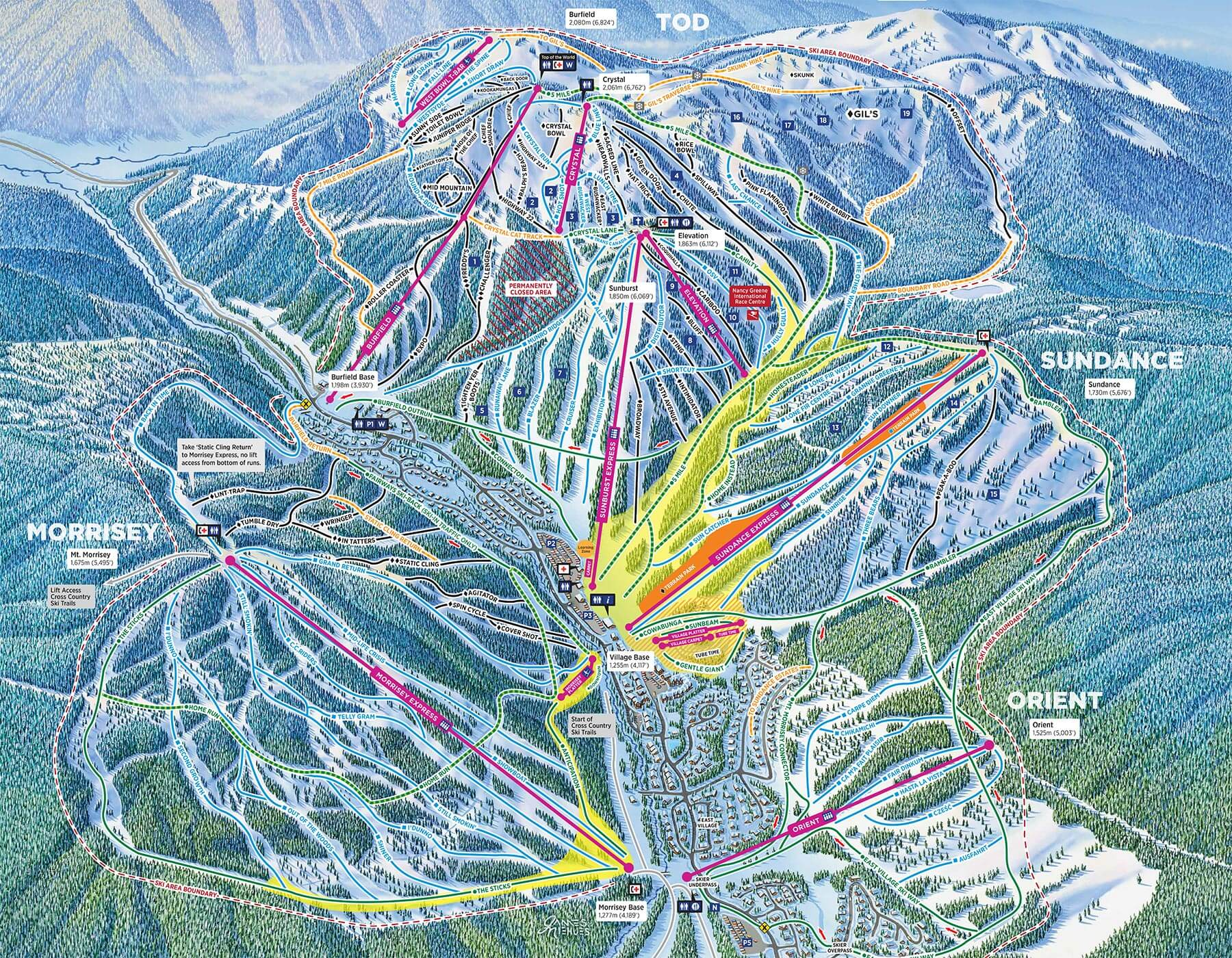 Current Sun Peaks Resort Trail Map