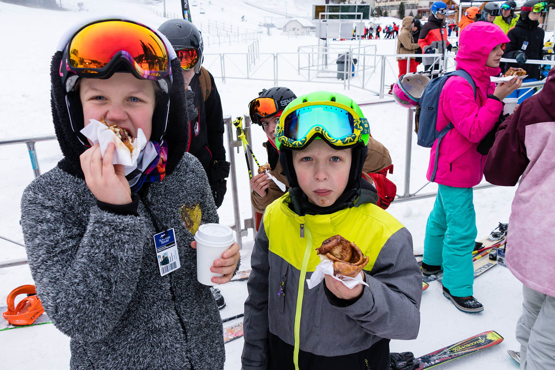 Eating Cinnamon Buns in the Lift Line on Opening Day