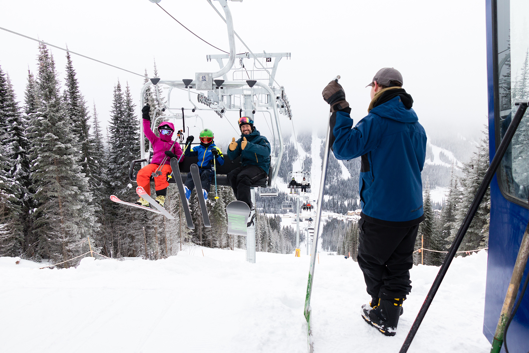 Guests at the Top of the New Orient Chairlift