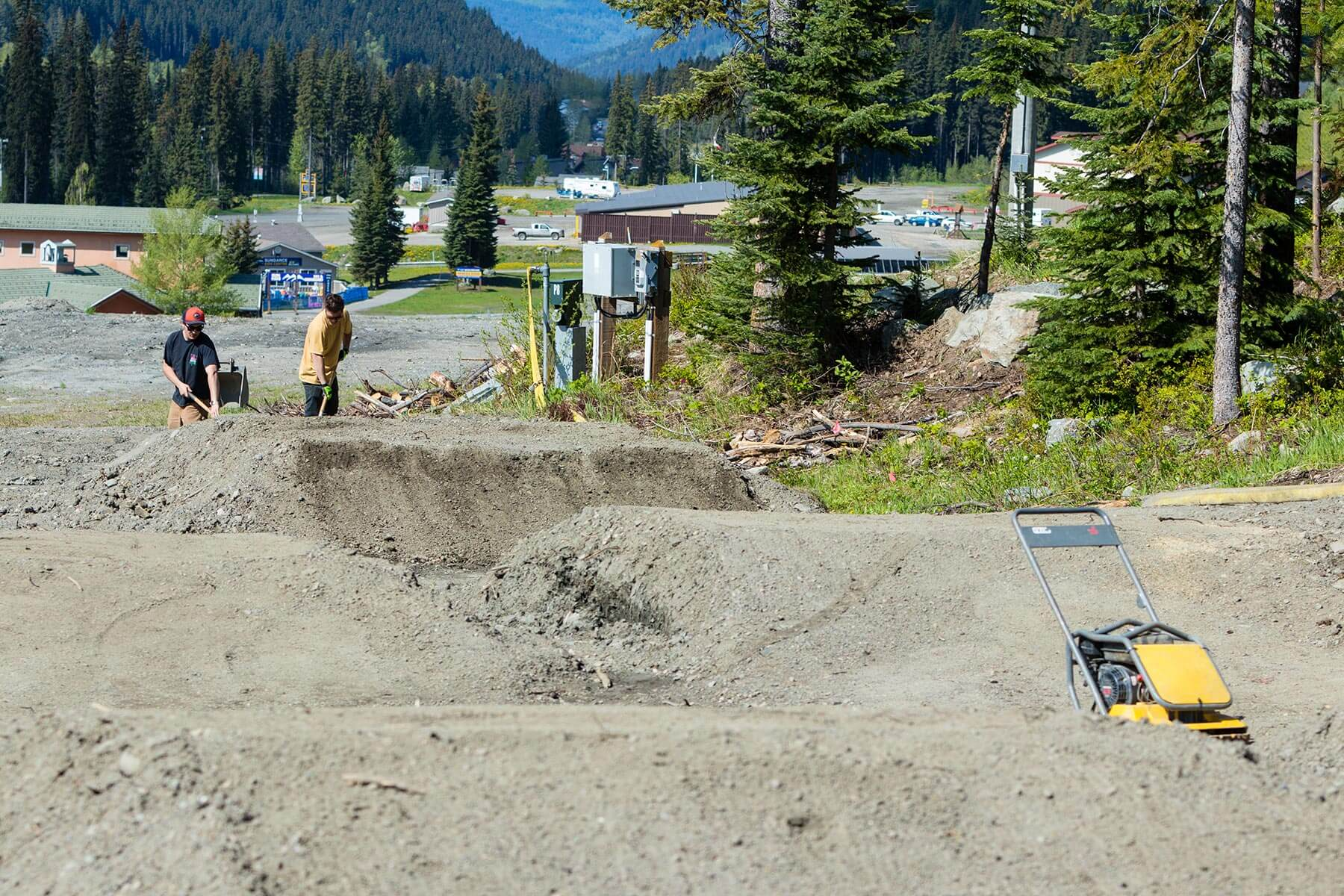 Construction in the Progression Park at Sun Peaks Bike Park