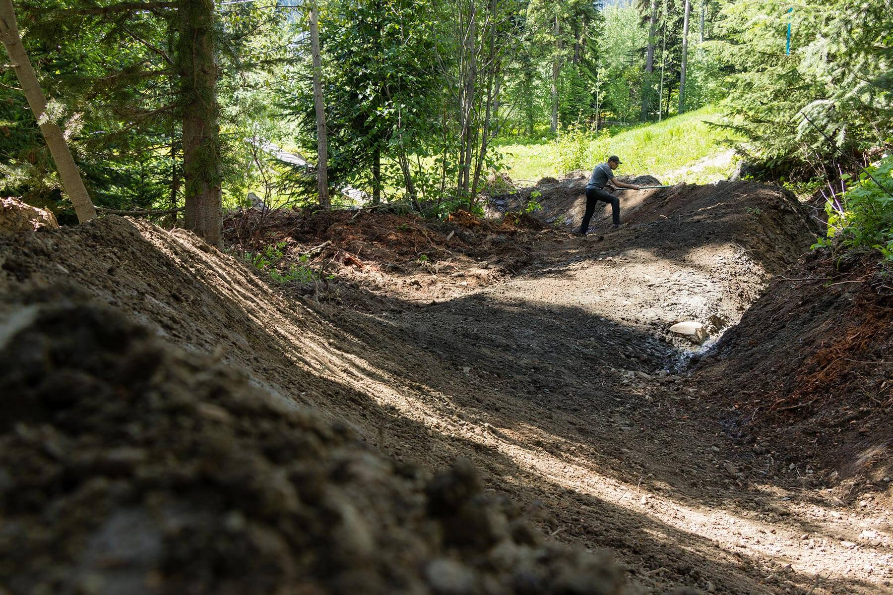 Canada Line Under Construction in the Sun Peaks Bike Park