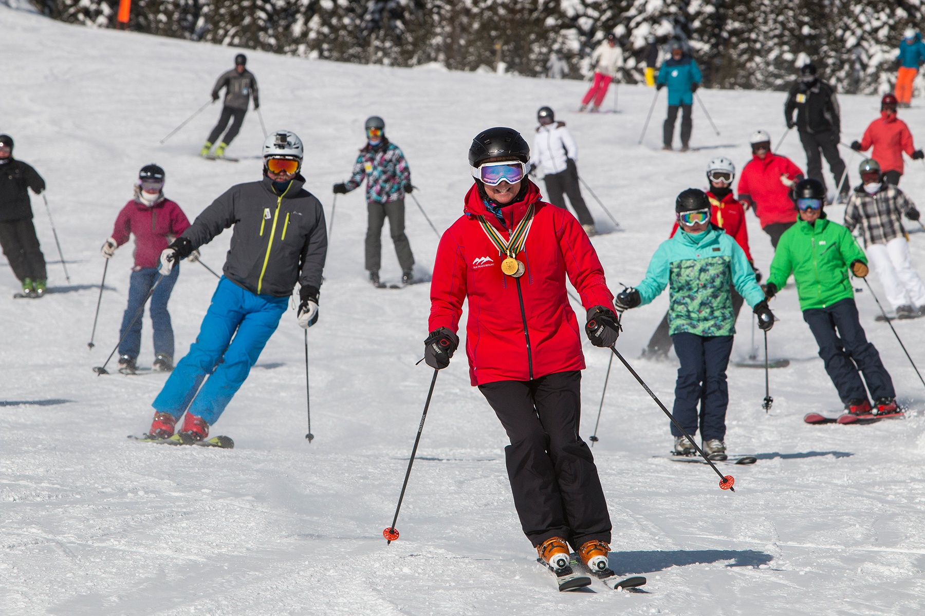 Nancy Greene Skiing With Guests