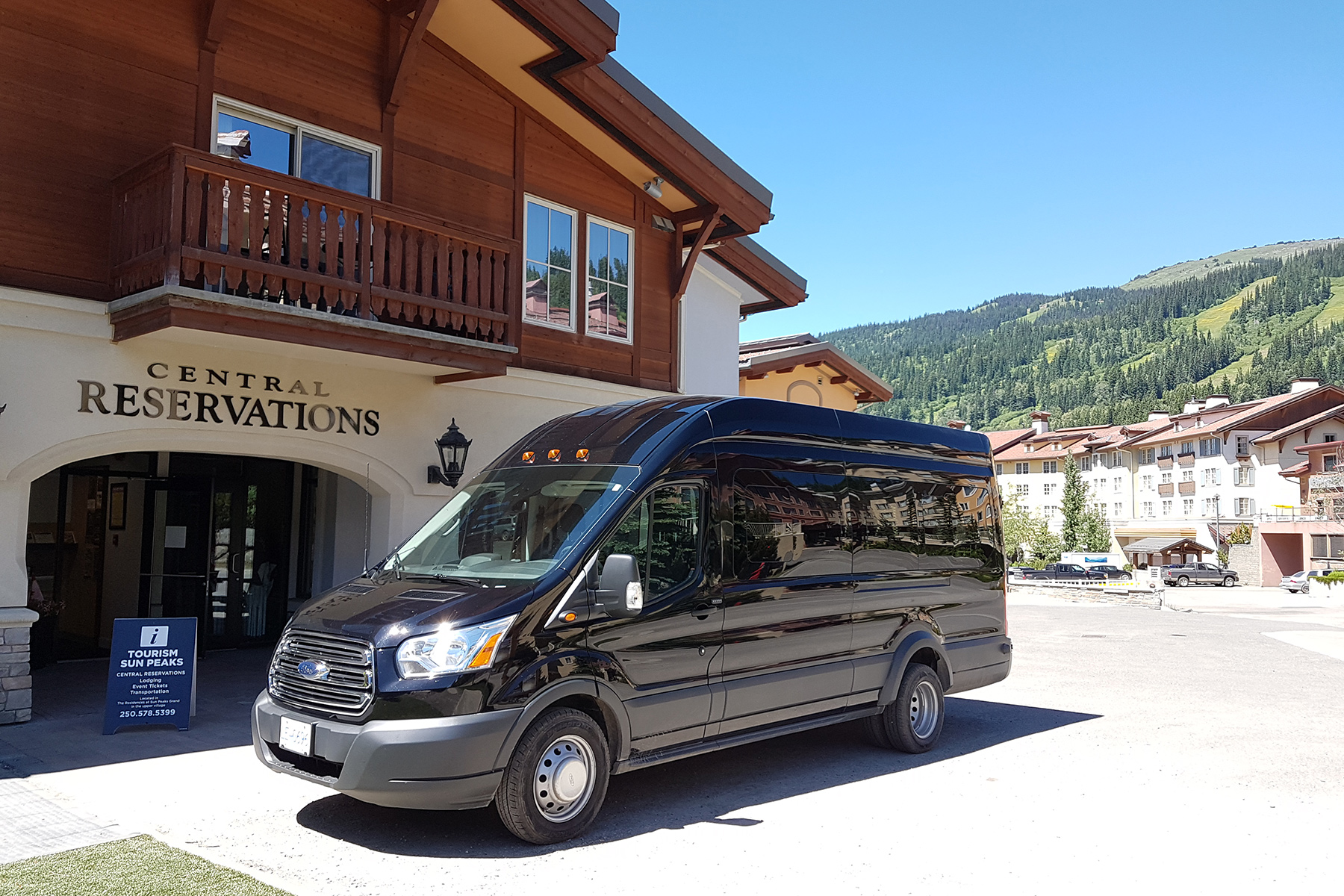 New Sun Peaks airport shuttle vehicle
