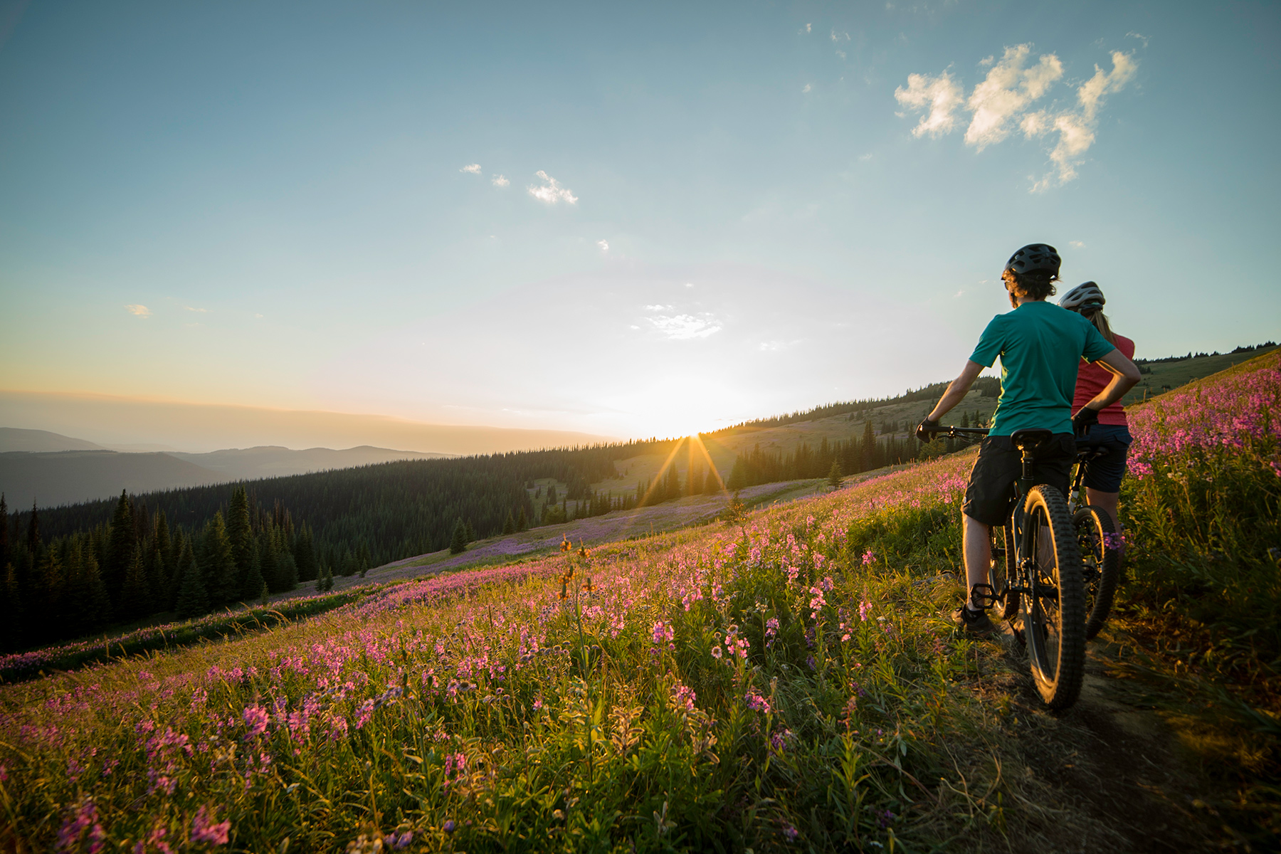 Sunset on the Altitude Trail at Sun Peaks Bike Park