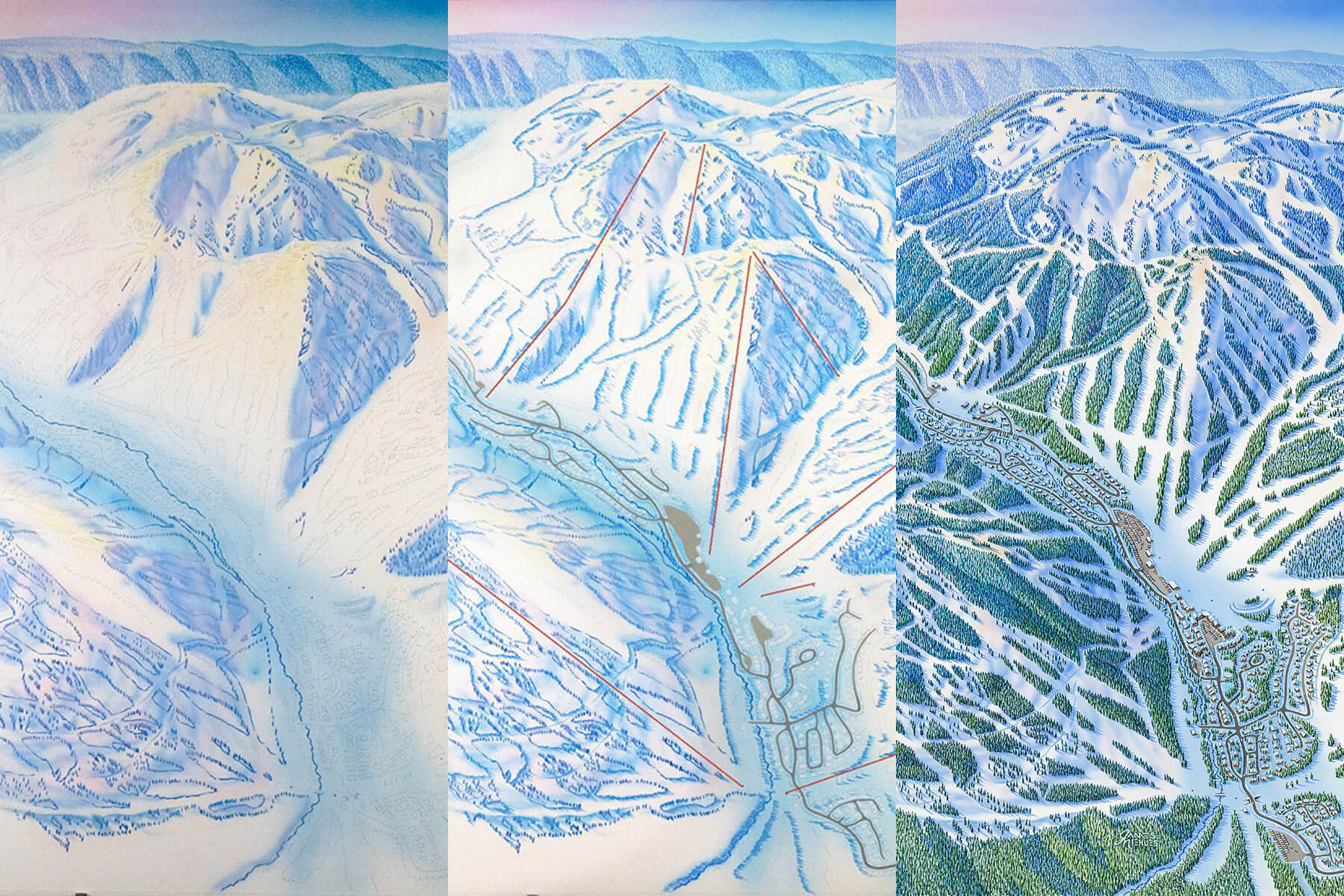 Painting Stages of the Sun Peaks Resort Trail Map