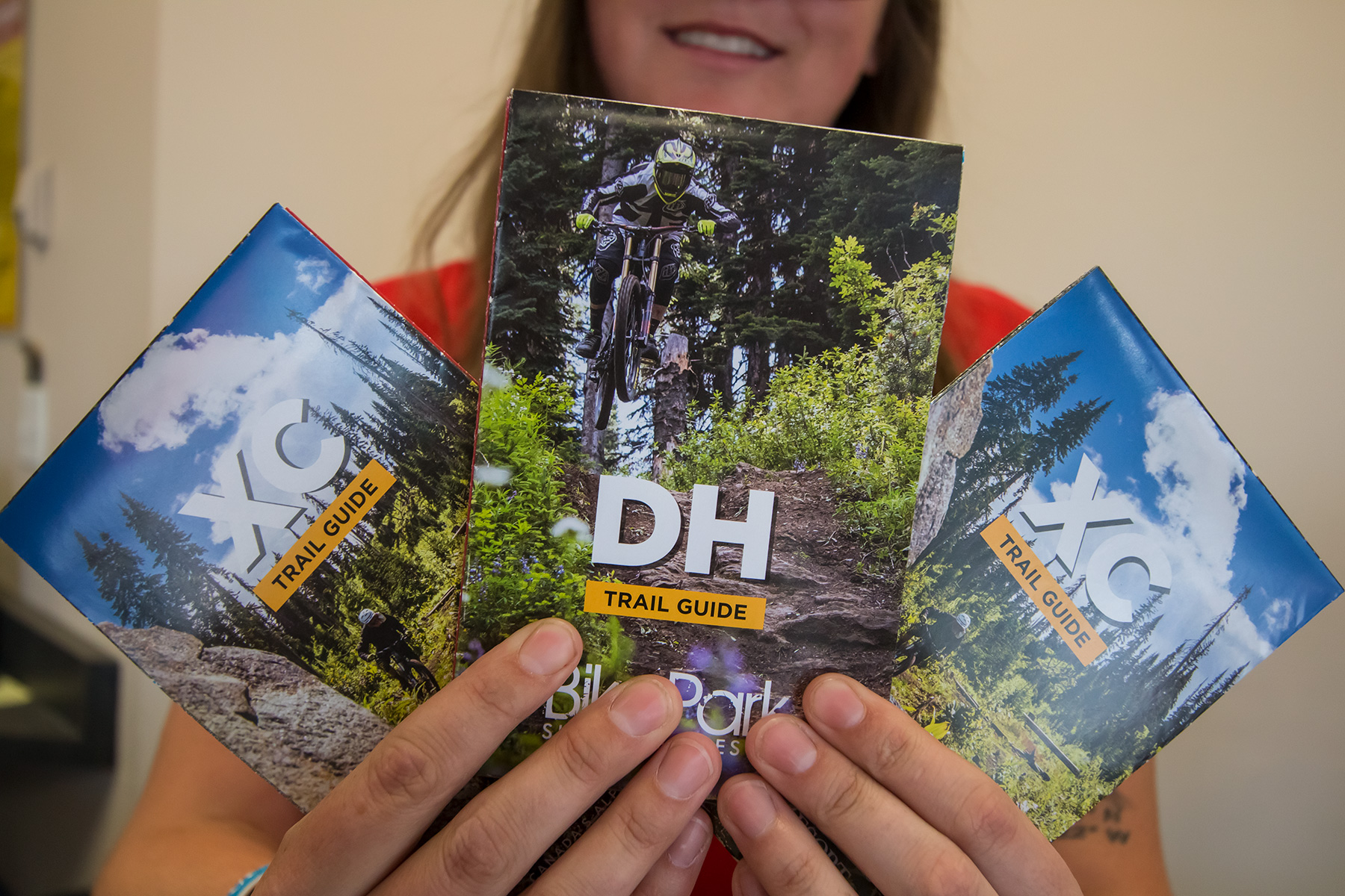 Our bike maps are double sided; XC on one side and DH on the other.