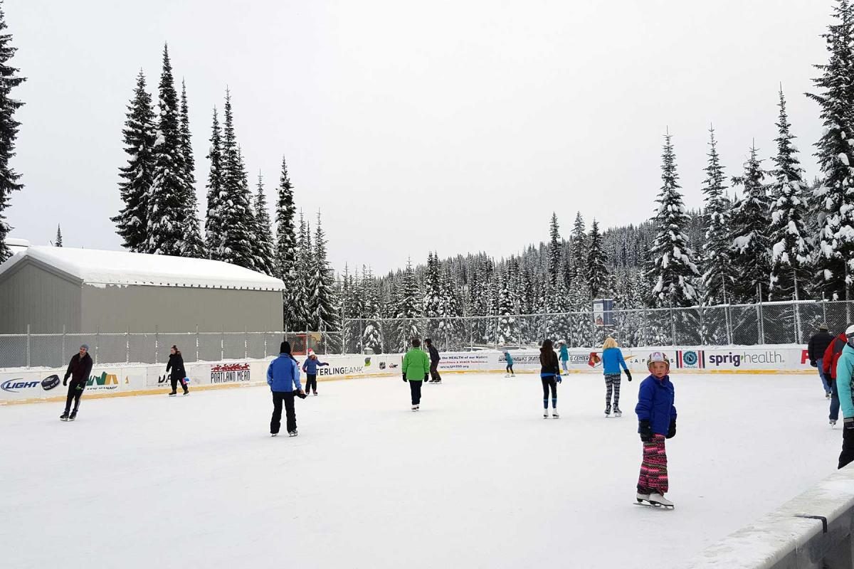 outdoor skating rink sun peaks resort